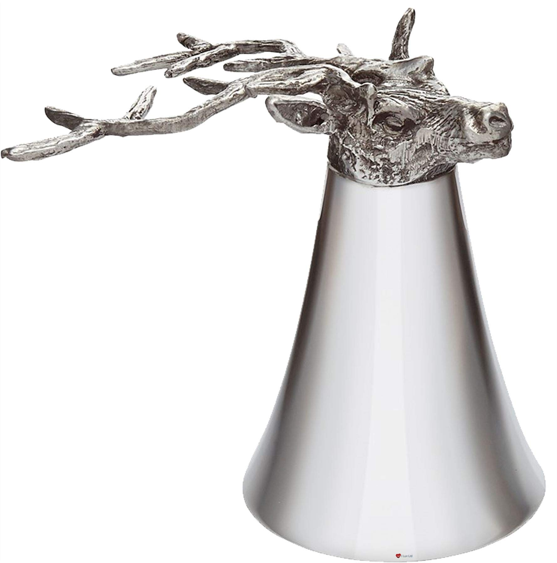 Pewter Jigger Measure or Stirrup Cup with Stag Head - 5 oz by iLuv