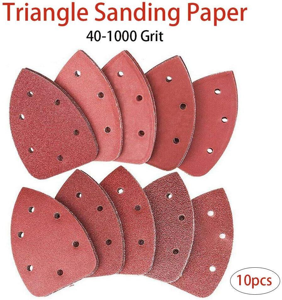 Almohadillas para lijadora de rat/ón lijadora triangular TOOLSTAR grano entero 140 x 140 x 98 mm hojas de lija negras y lijadora de palma 10 unidades papel de lija