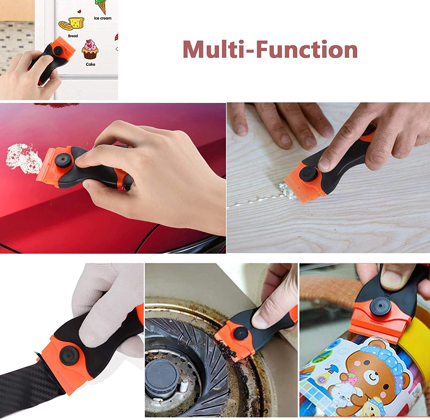 Mini Razor Scraper for Removing Glue Residue 2 in 1 Razor Blade Scraper with 10 Pcs Plastic Safety Blades and 10 Pcs Carbon Steel Blades for Removing Labels//Stickers//Decals//Glue Residue from Glass Window Cooktop Paint Stove top