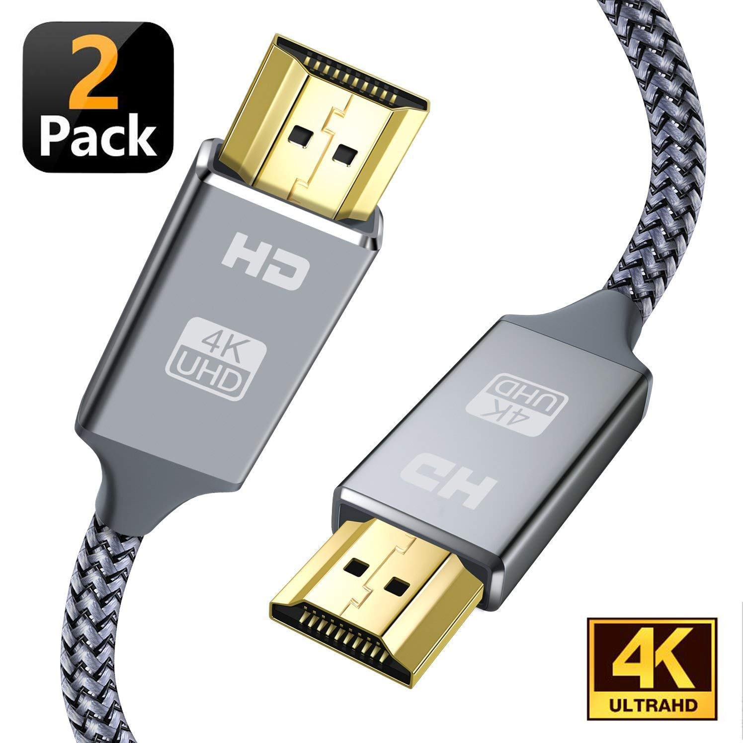 4K HDMI Cable,Capshi [6.6Ft,2Pack] High Speed 18Gbps HDMI 2.0 Cable, 4K@60Hz 30AWG Braided HDMI Cord, Gold Plated Connectors, Ethernet/Audio Return, 4K UHD 2160p, HD 1080p, 3D, Compatible TV PS3/4 2 by Capshi (Image #1)