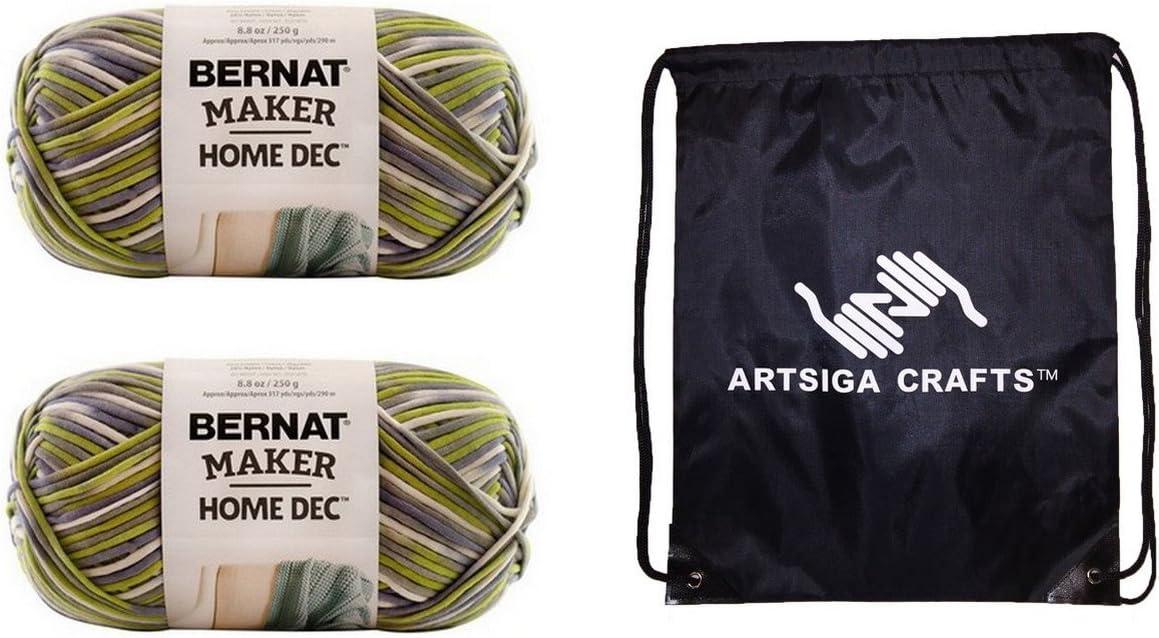 Bernat Knitting Yarn Maker Home Dec Lilac Fence Variegate 2-Skein Factory Pack (Same Dyelot) 161211-11017 Bundle with 1 Artsiga Crafts Project Bag