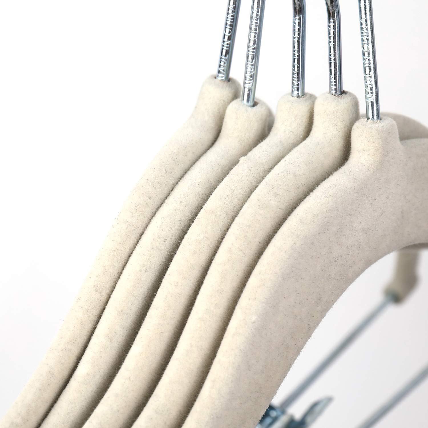 Tosnail 30 Pack Kids Velvet Hangers Childrens Clothes Hangers Baby Hangers with Clips White
