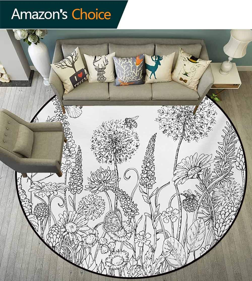 RUGSMAT Floral Round Kids Rugs,Sketchy Hand Drawn Style Garden with Various Flowers Leaves and Grass Image Non Skid Nursery Kids Area Rug for Bedroom Machine Washable,Diameter-55 Inch by RUGSMAT (Image #3)