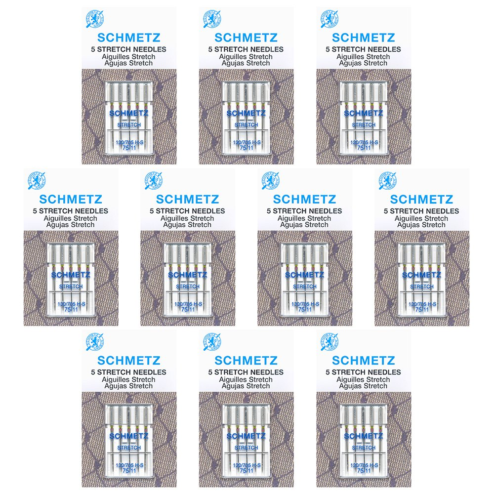 50 Schmetz Stretch Sewing Machine Needles - size 75/11 - Box of 10 cards by Schmetz