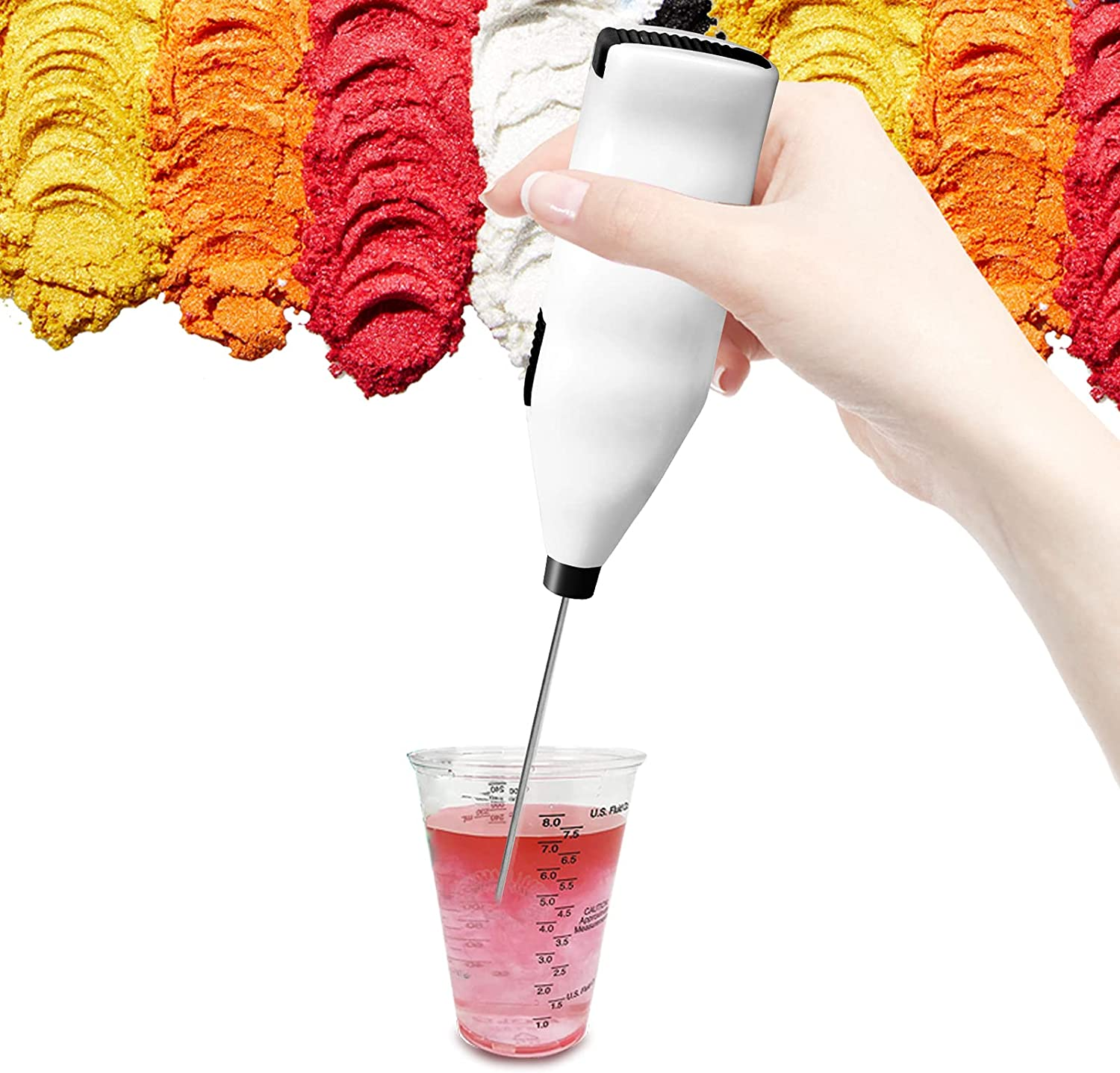 Epoxy Resin Electric Stirrer Hand-held Stainless Steel Drink Mixer Battery Type Spiral Resin Mixer Apply to Making DIY Glitter Tumbler Cups