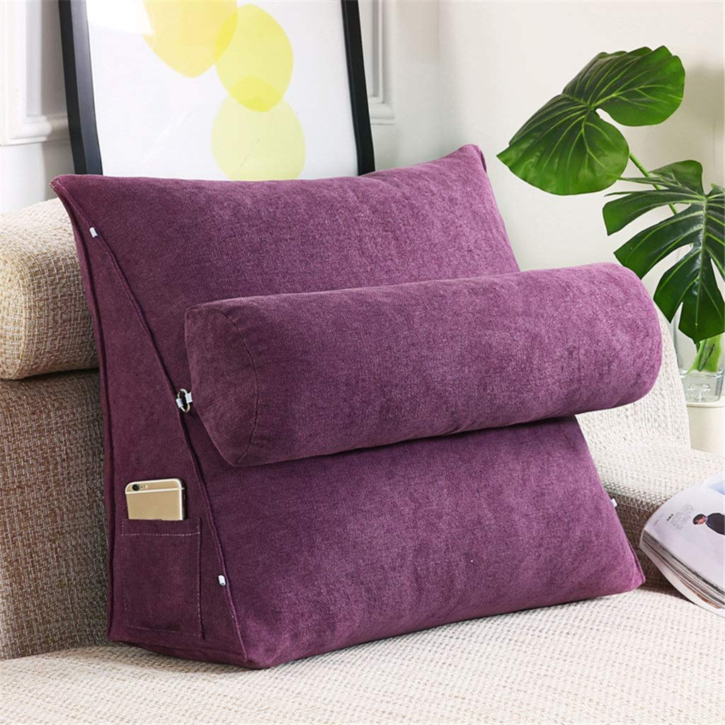 Lil Band Head Pillow Triangle Cushion, Sofa Office Bay Window Lumbar Pillow/Lumbar Support Waist/Pillow (can Be Adjusted in Three Steps) (Color : Purple, Size : 60x50x20cm) by LILISHANGPU (Image #1)