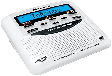 Midland WR120B Reloj Color blanco - Radio (Alcalino, Reloj, LCD, 10-