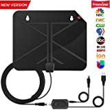 TV Antenna,Digital HDTV Antenna Indoor 70 Miles with Newest Advanced Type Amplifier Signal Booster,16.4ft High Performance Coax Cable,Upgraded 2018 Version,Better receive low frequency signals(black)