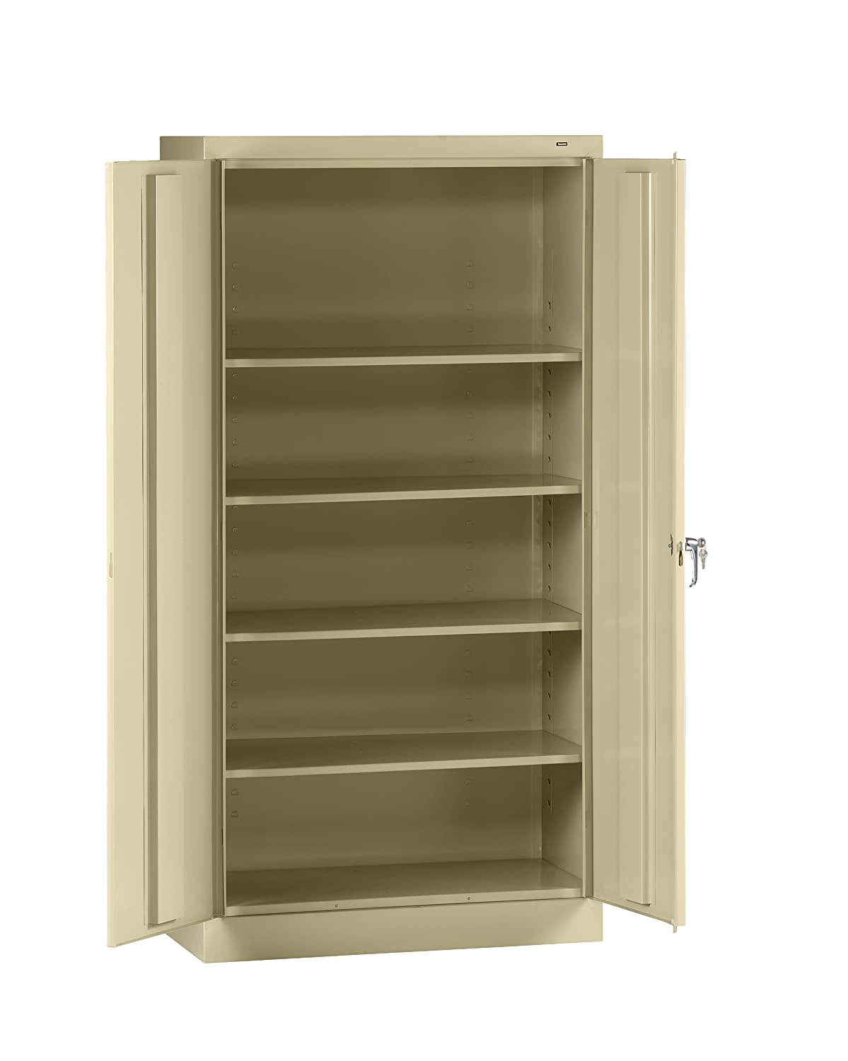"Tennsco 7218 24 Gauge Steel Standard Welded Storage Cabinet, 4 Shelves, 150 lbs Capacity per Shelf, 36"" Width x 72"" Height x 18"" Depth, Putty"