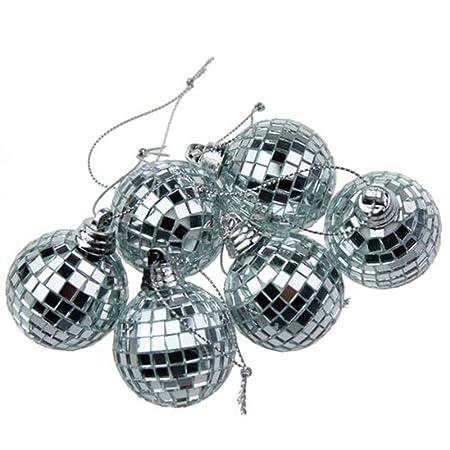 6 Silver Mini Disco Mirror Ball Christmas Tree Bauble Home Party