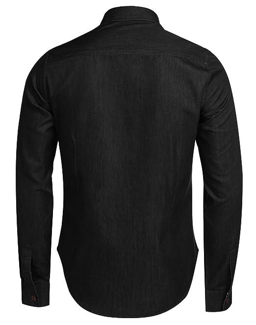 602f5b558562 Swiftt Herren Hemd Denim Langarm Lose Fit Baumwolle Frezeithemd Jeanshemd  Uni Shirt mit Knöpfeverschluss  Amazon.de  Bekleidung