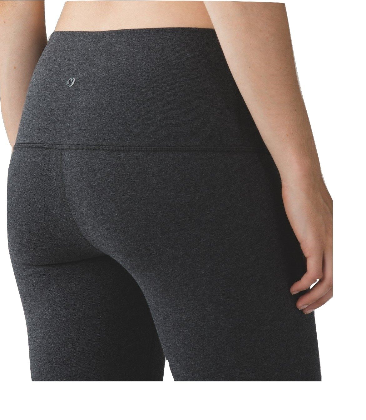 Lululemon Wunder Under Pant High Rise Cotton Yoga Pants (Heathered Black, 2)