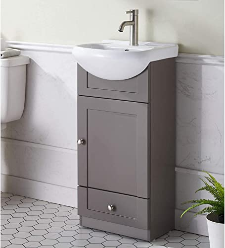 Modern Design 18 Grey Khaki Stand Bathroom Vanity for Small Space, Bathroom Sink Vanity Combo Cabinet Set with White Countertop Ceramic Vessel Sink
