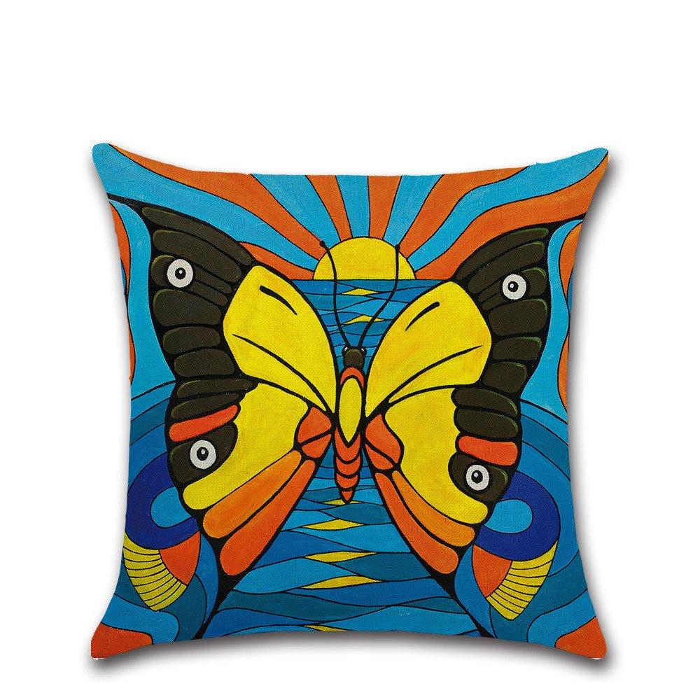 Excelsio Colorido Mariposa Funda de Coj/ín Funda para Sof/á Cama Sal/ón Dormitorio Hogar Decor Personalizado Cuadrado Algod/ón Lino Coj/ín Fundas de Coj/ín 45 x 45 cm