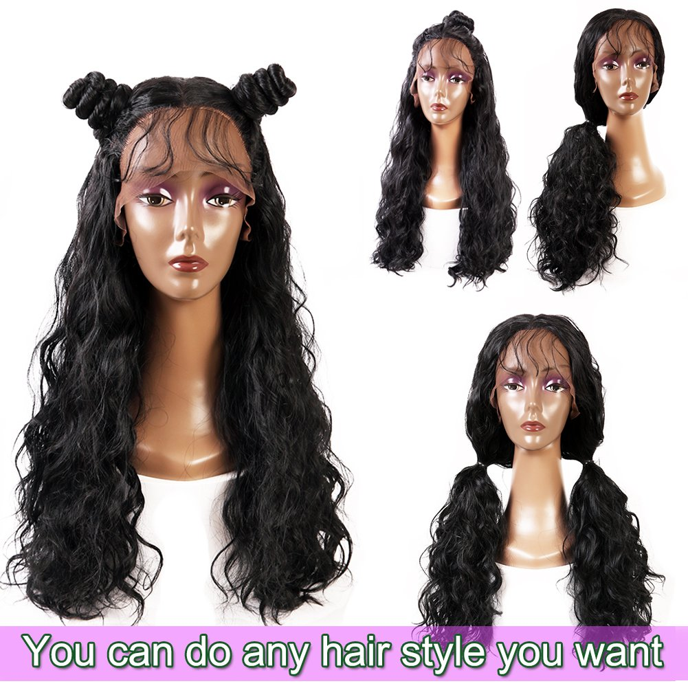 Andria Hair Lace Front Synthetic Wigs Long Straight Heat Resistant Hair Pre Plucked Wig with Baby Hair Bleached Knots for Women ( Black Hair 20