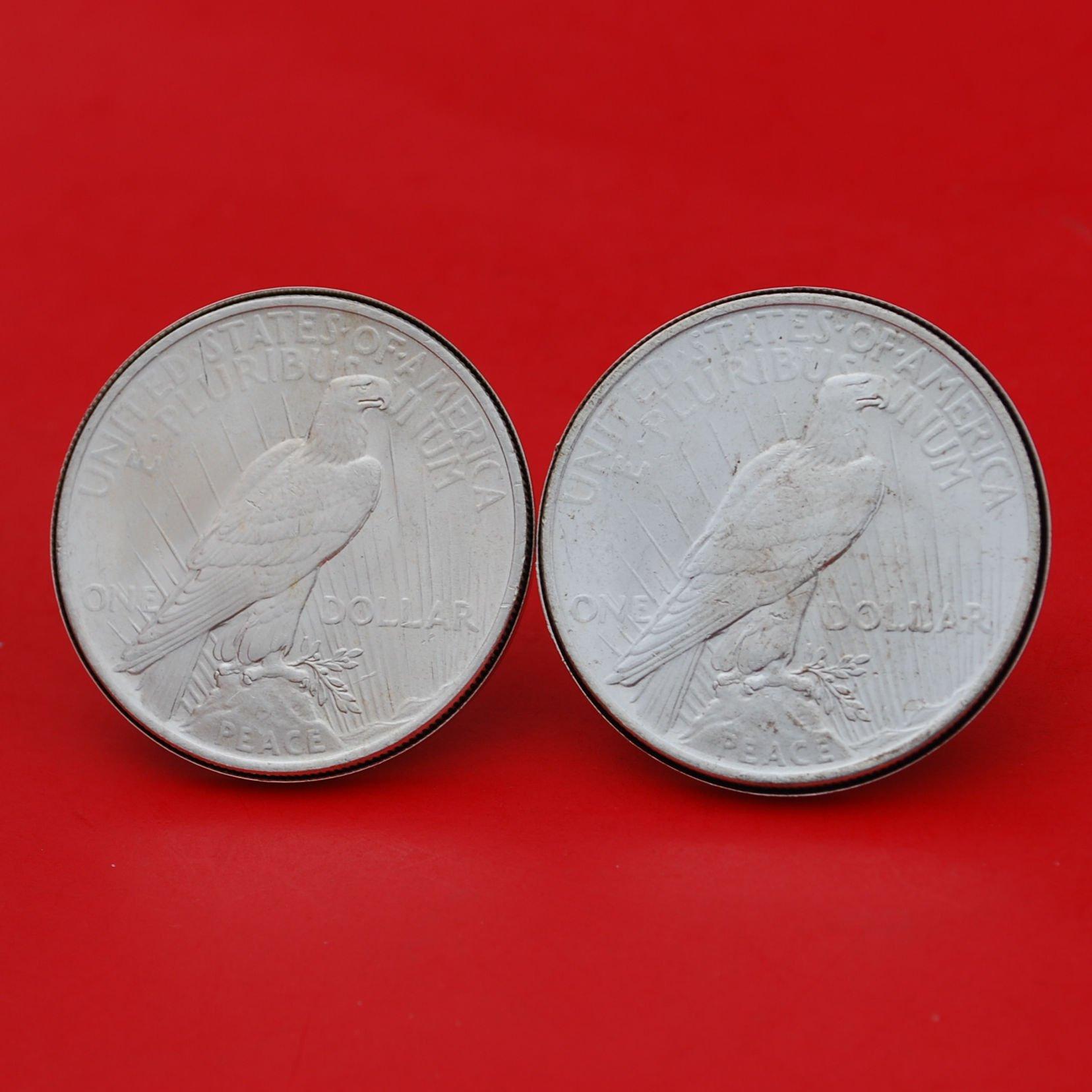 US 1922 Peace Silver Dollar BU Uncirculated Silver Cufflinks NEW - REVERSE + REVERSE