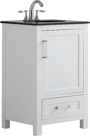 Simplihome Evan 20 Inch Contemporary Bath Vanity In White With Black Granite Top Amazon Com
