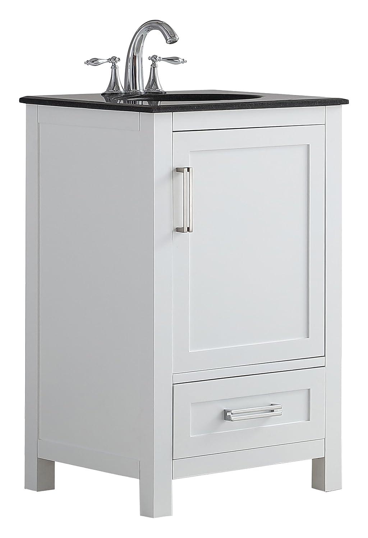 Simpli Home Evan 20 inch Bath Vanity with Black Granite Top White