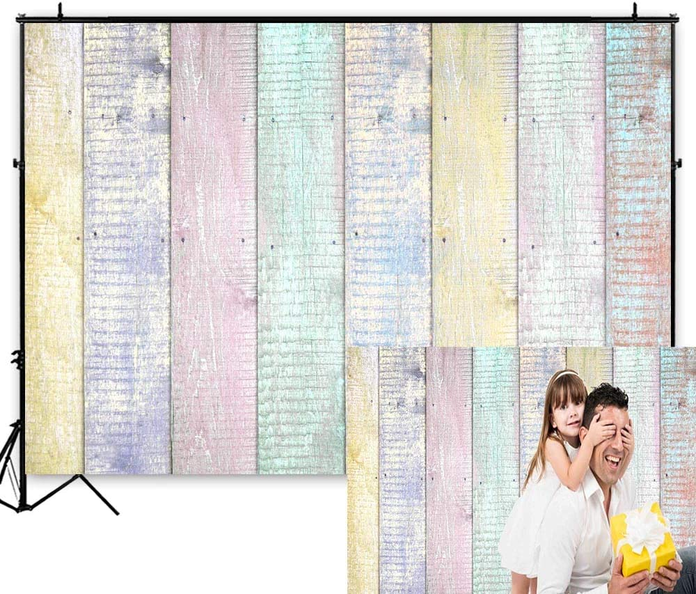 Funnytree 7X5FT Colorful Rustic Wood Fence Wall Texture Easter Photography Backdrops Paint Child Baby Shower Birthday Party Background Retro Banner for Picture Photo Booth Studio Photocall