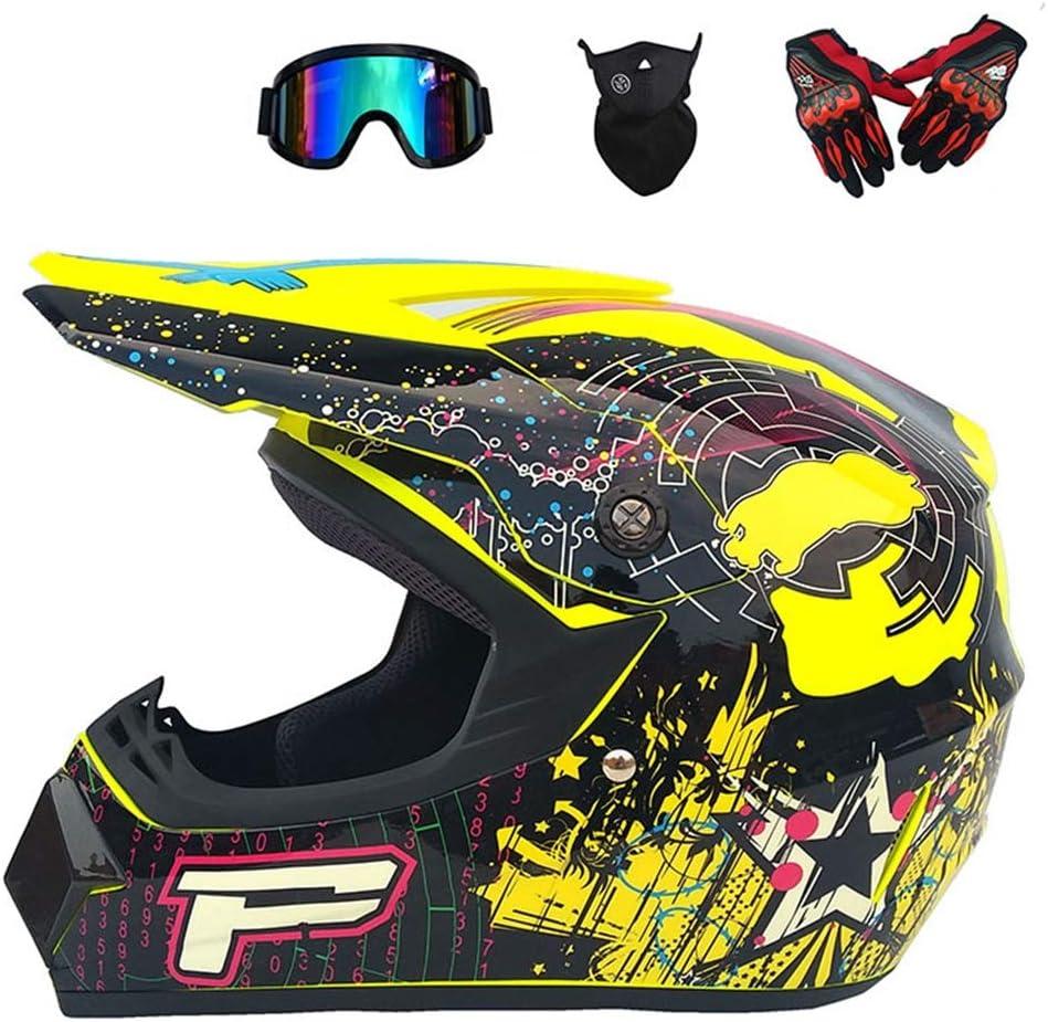 MRDEAR Casco de Motocross Set Adultos Profesional Casco Motocicleta Casco Unisex Integral con Gafas, Guantes, Mascarilla,Tamaño (S, M, L, XL)