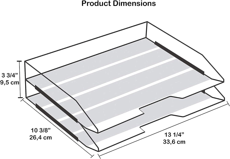 Acrimet stapelbare Briefablage aus Kunststoff Dokumentenorganizer mit Seiten/öffnung 2 F/ächer schwarz