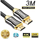 TERSELY 4K HDMI Cable, 3M HDMI Cable 2.0a/b High Speed HDR Ultra FULL HD 4K@60Hz 4:4:4 Resolution 4096*2160 Nylon Net Zinc Alloy Hood Gold Plated Connector for PS4|Xbox 360|Mac|HDTV| Projector|TV Box