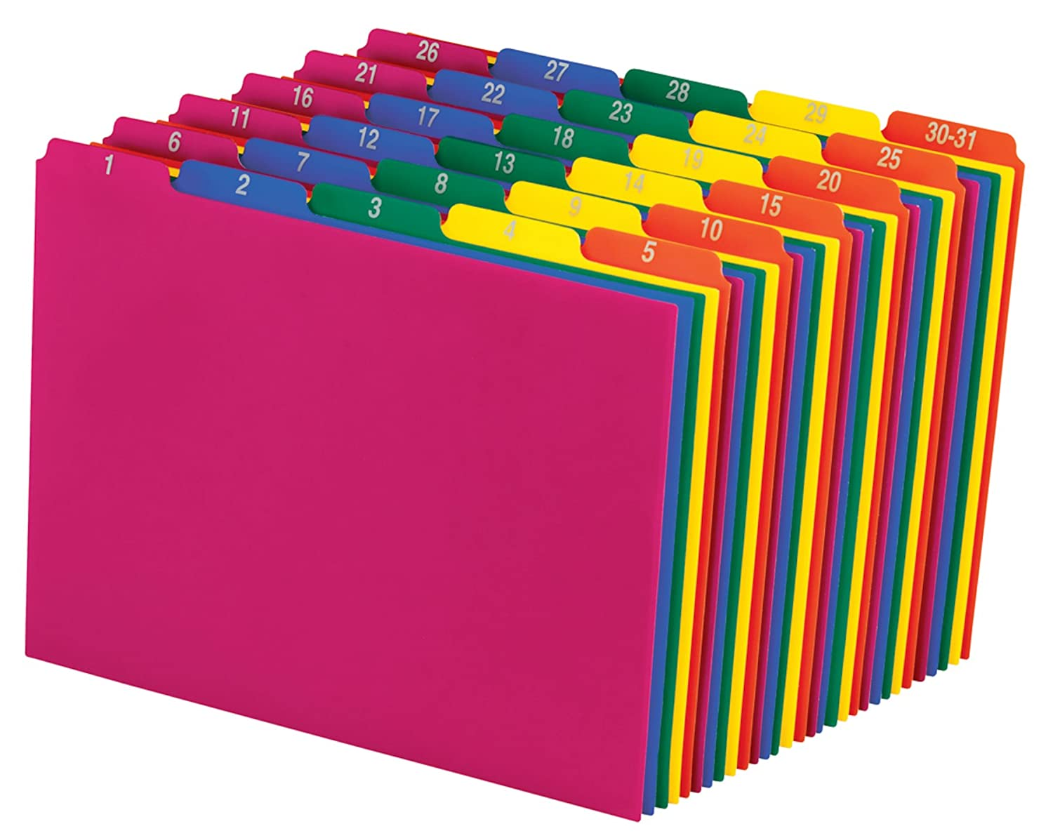 Pendaflex Poly File Guides, 1-31, 1/5 Cut Top Tabs, Letter, Assorted Colors, Daily 1-31,(40143) Esselte Corporation
