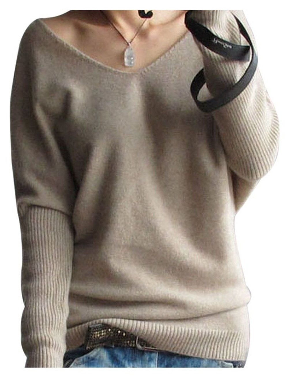 LONGMING Women's Fashion Big V-Neck Pullover Loose Sexy Batwing Sleeve Wool Cashmere Sweater Winter Tops(Tan, M)