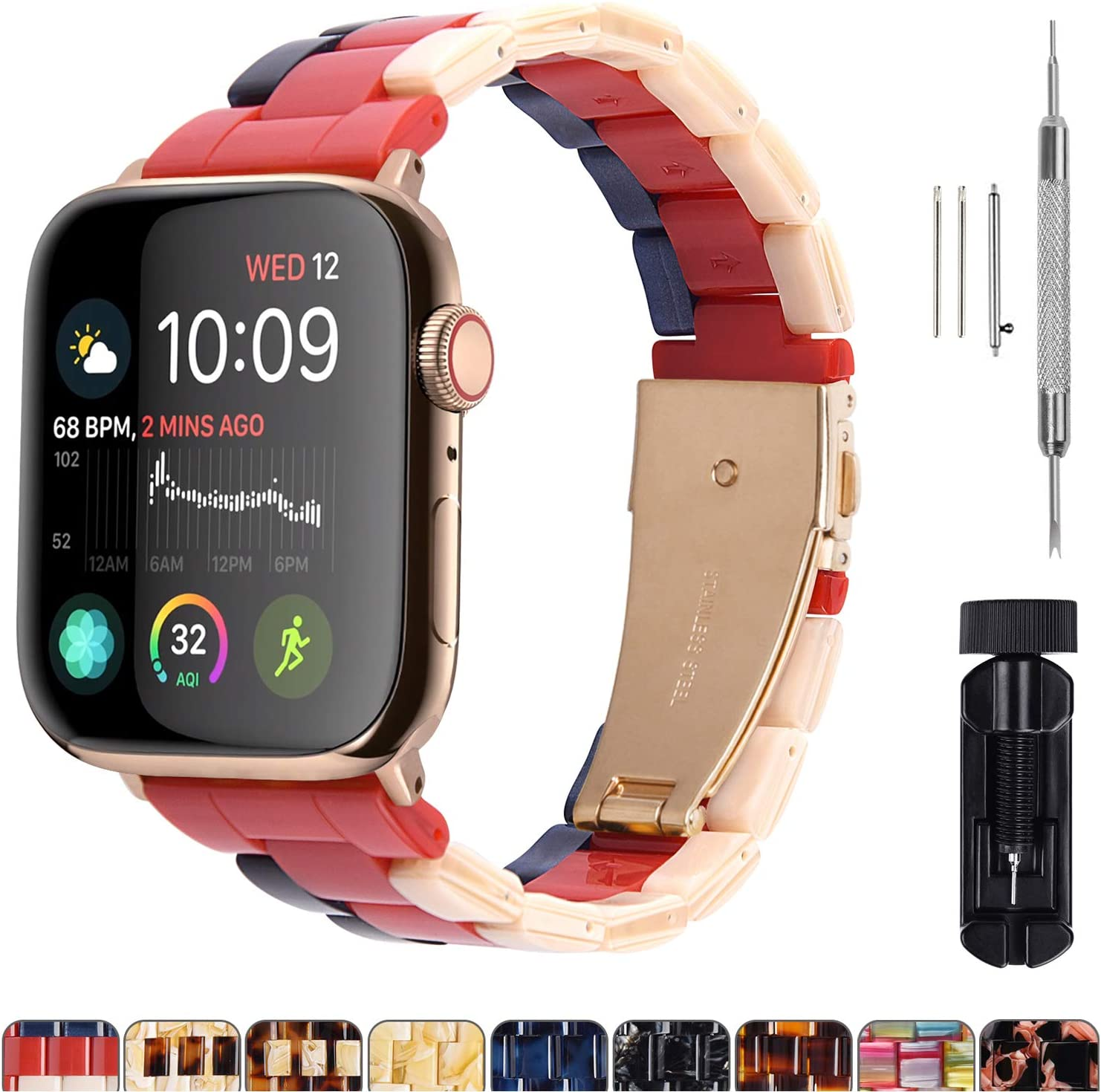 Fullmosa Compatible Apple Watch 44mm/42mm/40mm/38mm, Bright Resin Apple Watch Band for iWatch SE & Series 6/5/4/3/2/1, Hermes, Nike+, Edition, Sport, Beige+Red+Sapphire(Gold Hardware) 44mm
