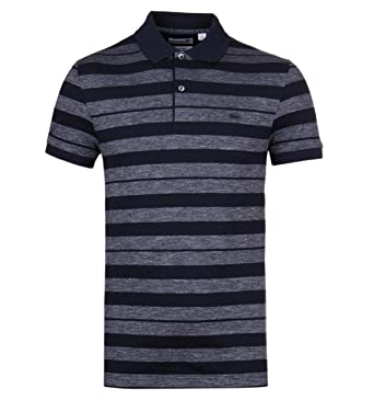 1744da187ce Lacoste Marine Blue Stripe Slim Fit Polo Shirt-Small  Amazon.co.uk  Clothing