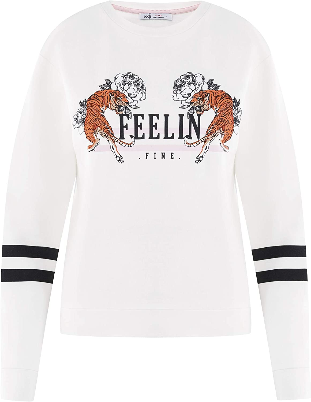 oodji Ultra Femme Sweat-Shirt en Coton avec Imprim/é