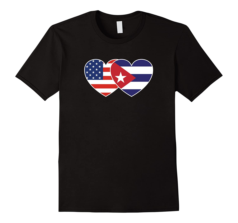 CUBA USA Flag Twin Heart T Shirt for Cubans Americans-RT
