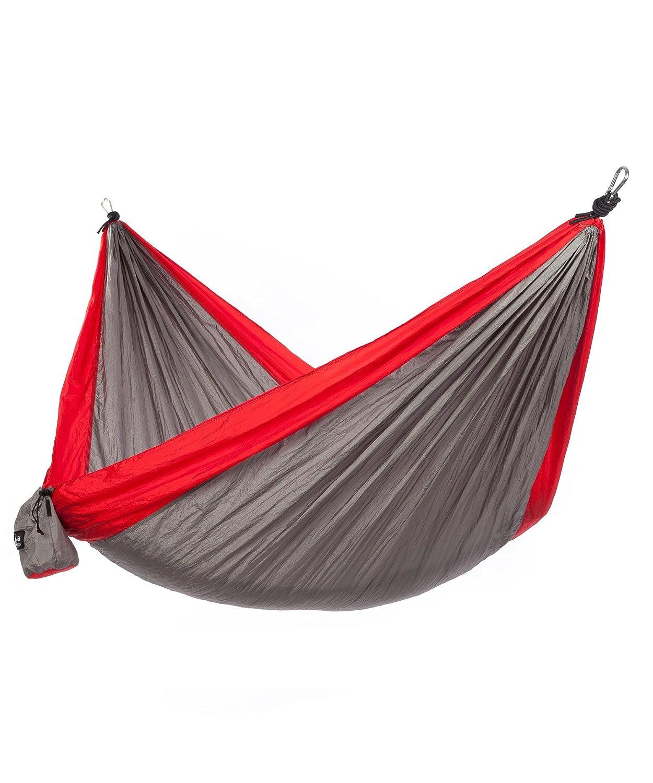 Just Relaxダブルポータブル軽量キャンプハンモック、10.6 X 6.6フィート B01AVGR0CS Grey-Red Grey-Red