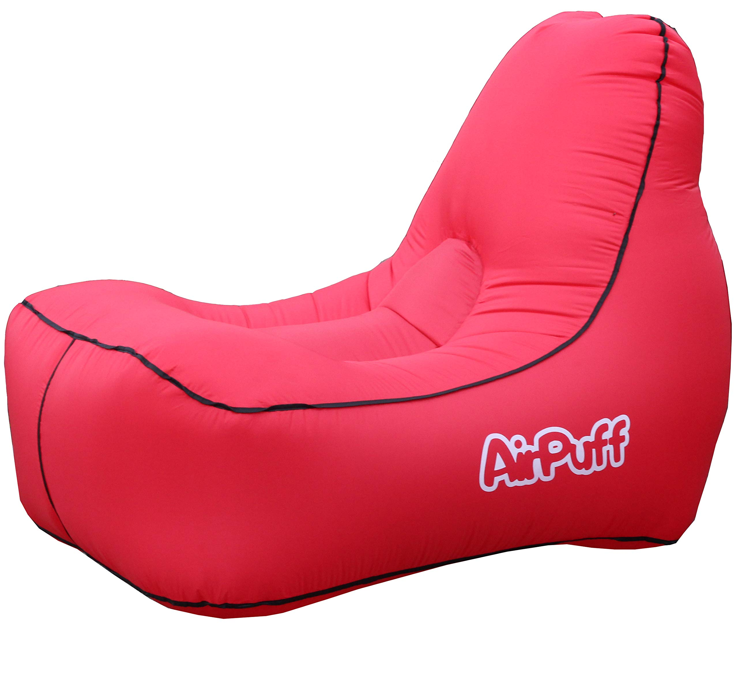 AirPuff Inflatable Lounge Chair Outdoor for Beach, Travel, Lawn - Comfortable Lazy Chair Lounger Portable (Red)