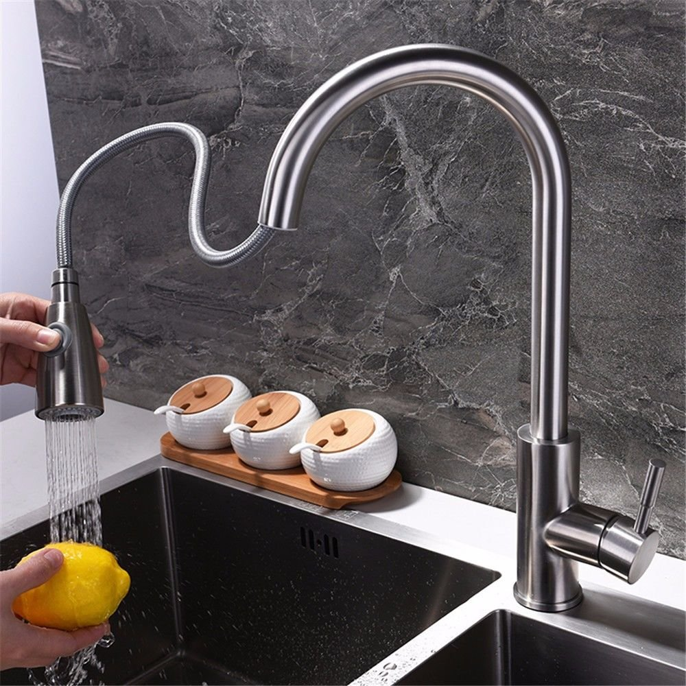 Gyps Faucet Waschtisch-Einhebelmischer Waschtischarmatur Badarmatur Edelstahl Multi-Purpose Multi-Purpose Multi-Purpose Küche Pull-down Warmes und Kaltes Leitungswasser Gerichte in Einer Badewanne mit Einem drehbaren Armaturen fb8422