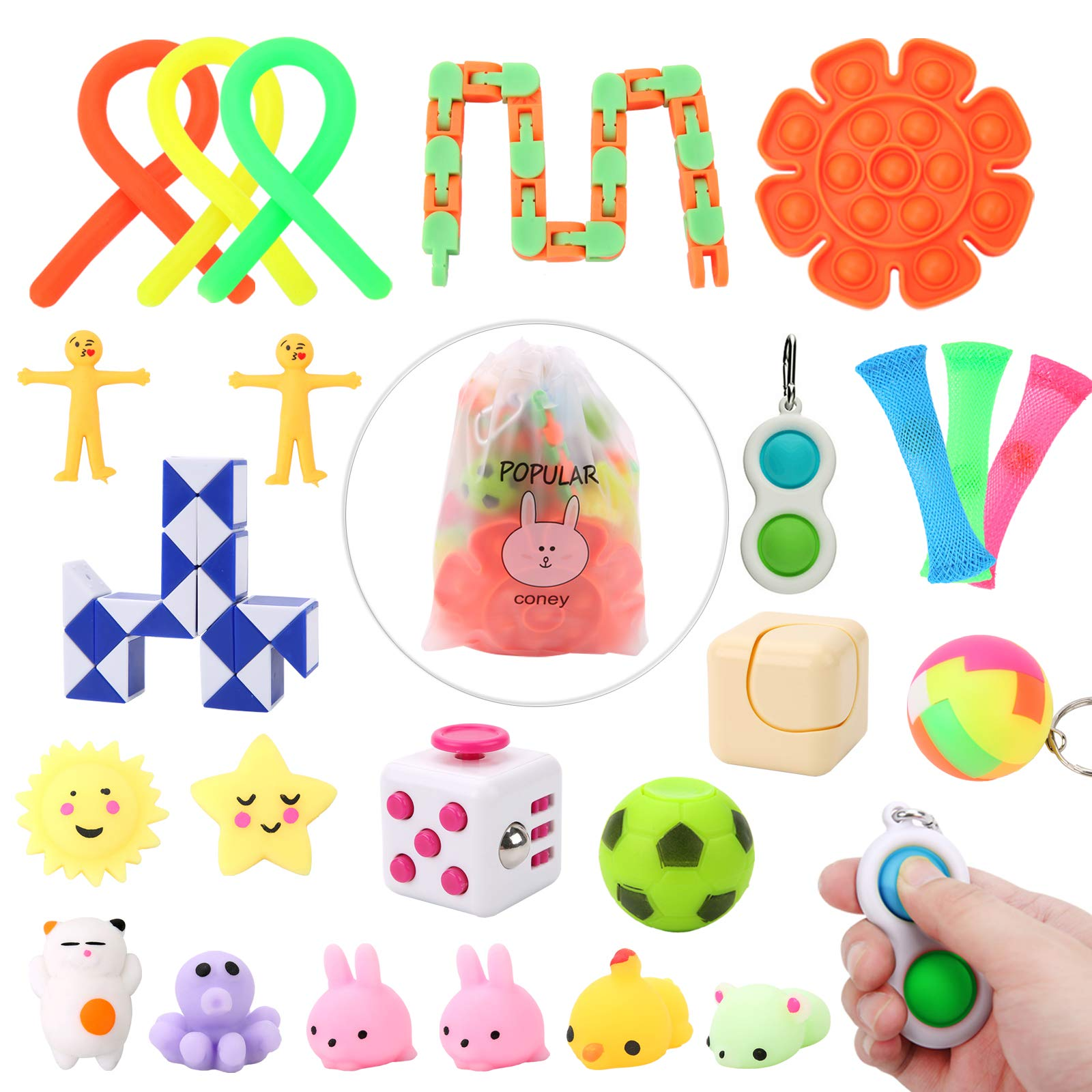 Sensory Fidget Toys Set, Pack of 24pcs Bundle Fidget Toys for Kids Adults Anxiety and Stress Relivers Gift for Easter, Pinata, Christmas Stocking