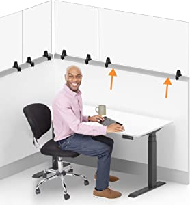 Stand Steady Clear Cubicle Wall Extender | Single 48 in x 24 in Panel | Clamp On Acrylic Shield & Sneeze Guard | Portable Desk Divider for Desk Walls & Cubicles | for Offices, Libraries & More