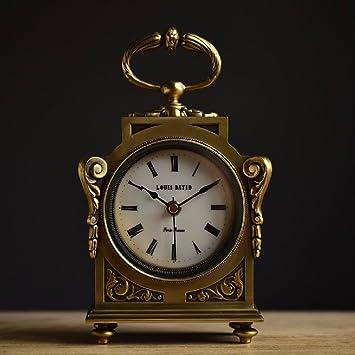 SSBY Siglo xix Francia chimenea de cobre latón sólido relojes reloj decorativo Reloj de latón sólido en Europa y América los antiguos romanos: Amazon.es: ...