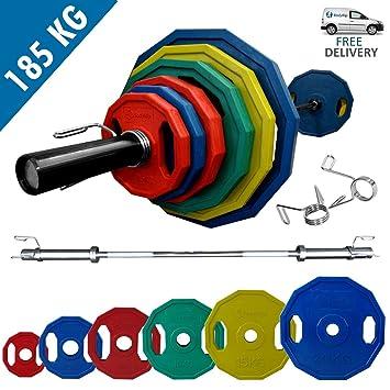 Juego de pesas olímpico BodyRip netproship poligonal de 185 kg pesos con 213,36 cm Bar y espinazos: Amazon.es: Deportes y aire libre
