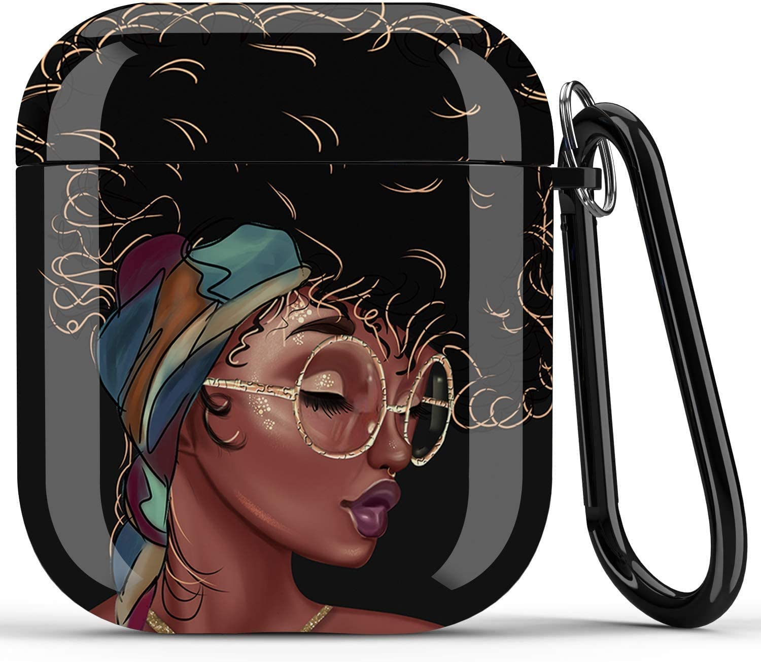 Airpods Case - Icepos African American Airpods Accessories Protective Hard Case Cover Portable & Shockproof Women Girls with Keychain for Apple Airpods 2/1 Charging Case (Black Girl Right)