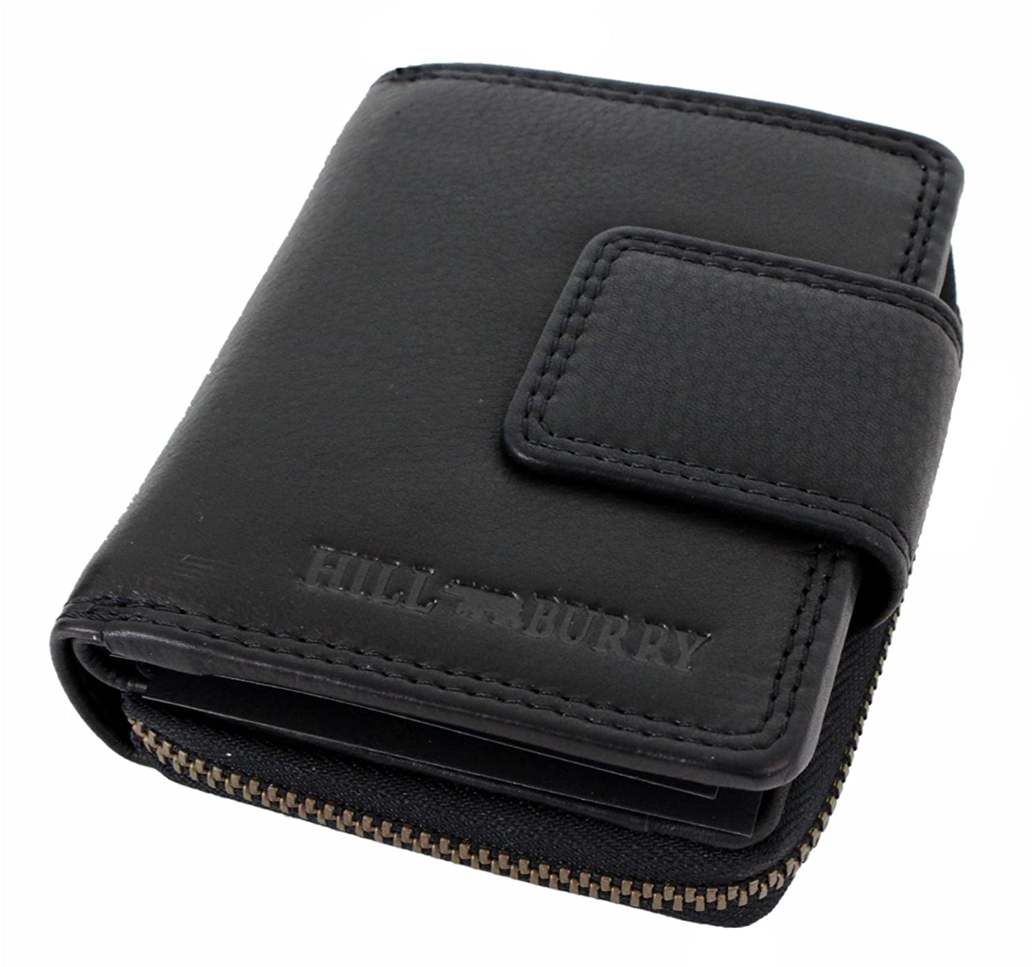 Genuine Leather Wallet for Men Women small Handmade Bifold compact Wallets ID Card Holder with coin pocket black Houston