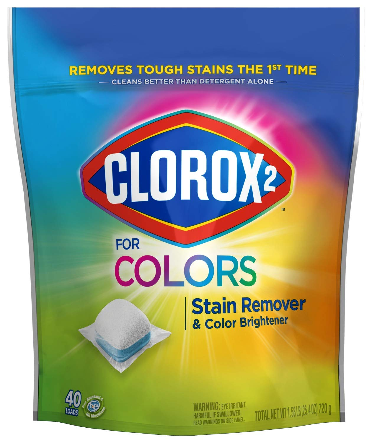 Clorox 2 Laundry Stain Remover and Color Booster Packs, Laundry Packs, 40 Count