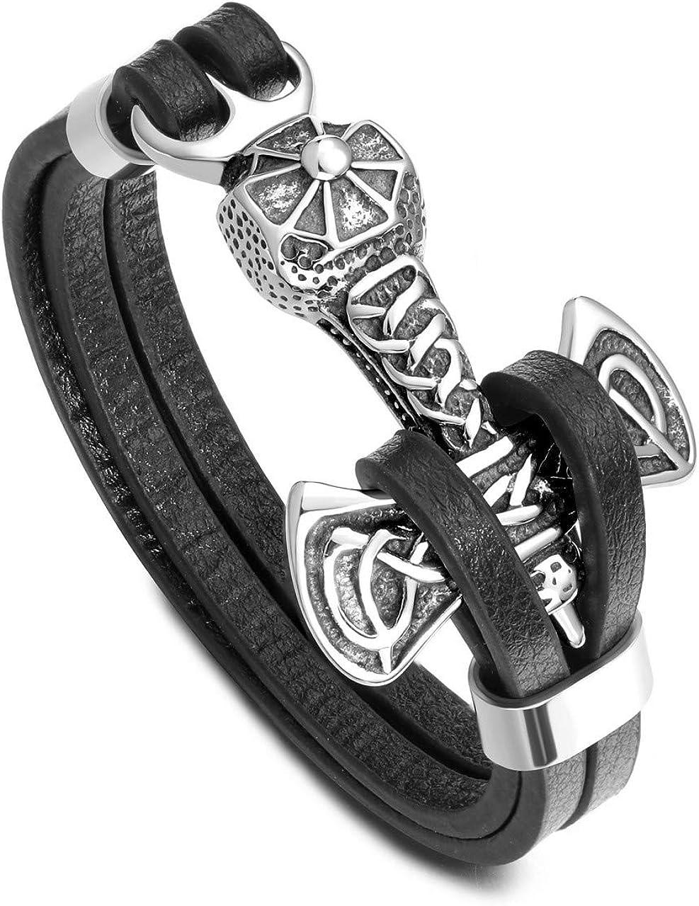 PiercingJ - Pulsera vikinga para hombre, diseño de martillo de Thor, de acero inoxidable, diseño de nudo celta, color negro