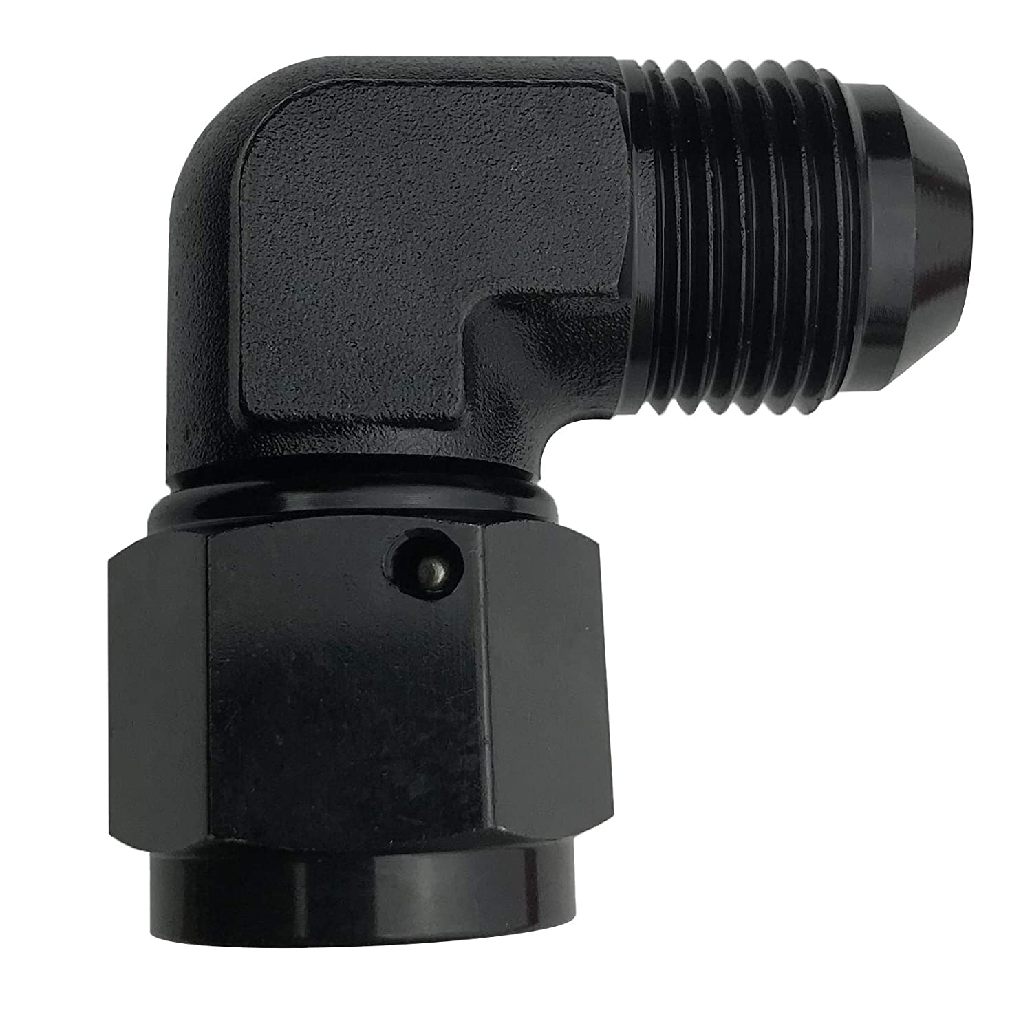 6AN Female Coupler Swivel Hose Union 90 Degree Elbow Aluminum Fuel Hose Fitting AN6 to AN6 Coupling Pipe Adapters Black Anodized