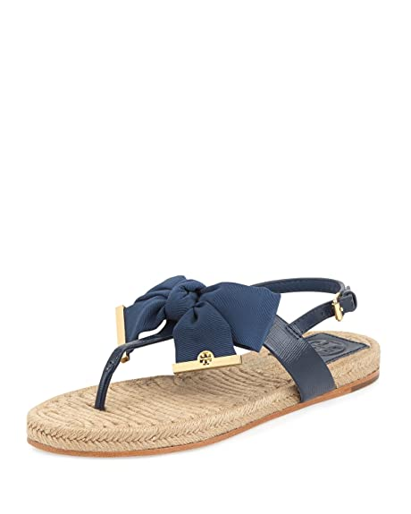 af296fe66f4 ... coupon for tory burch penny flat bow espadrille thong sandals newport  navy size 8 ce825 8c7df