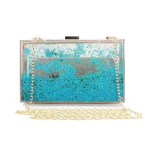 ... de tendencia nueva caja transparente bolsa de cadena de mensajero de solo hombro acrilico mini bolsa clutch cuadrado: Amazon.es: Zapatos y complementos