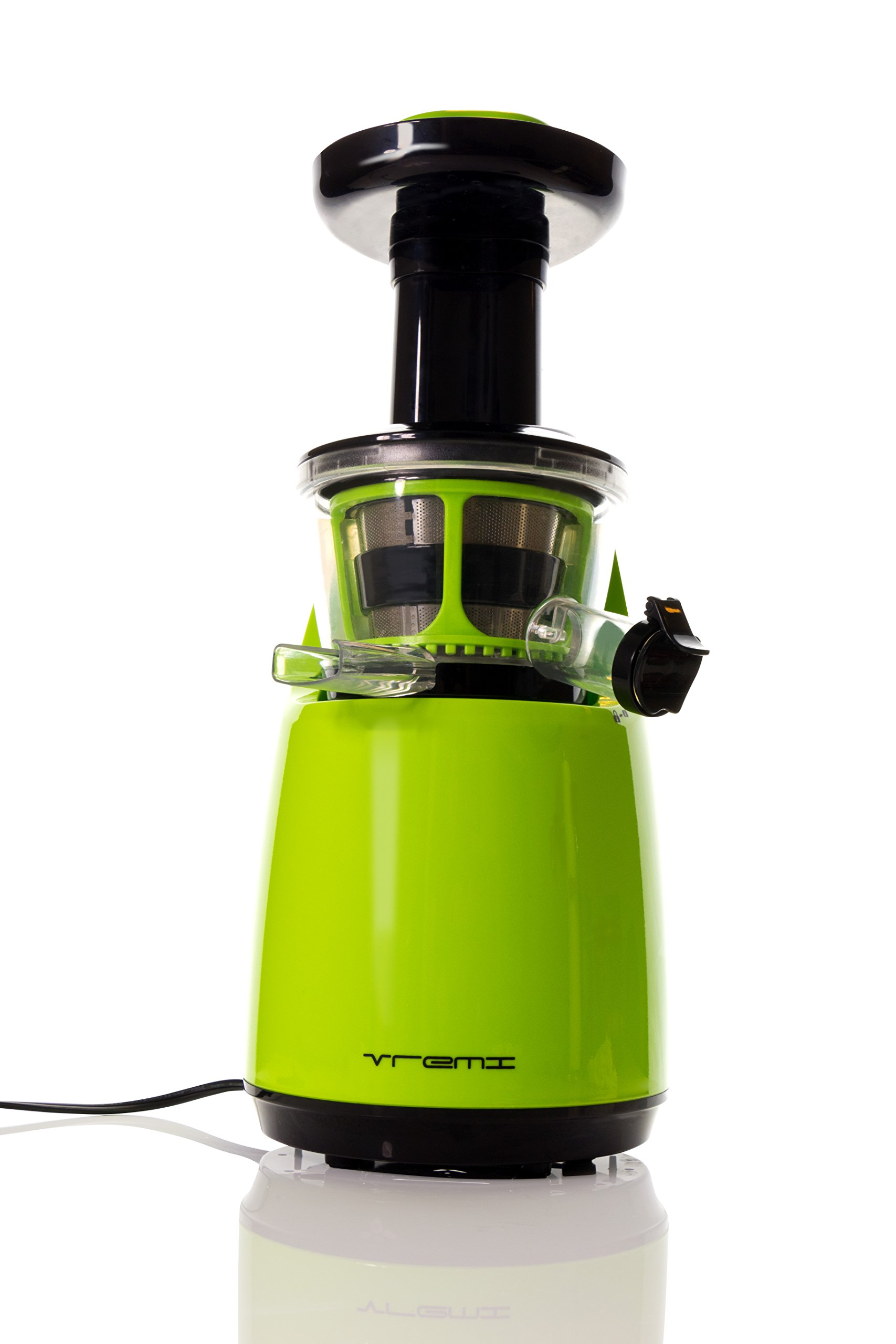 VREMI Slow Juicer (GREEN) – Live Clean & Green with Delicious & Natural Juices Pressed Fresh From Your Kitchen – Precise Slow Press Juice Extracting Process– Reduces Waste – Saves Energy