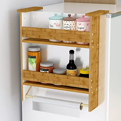Amazon.com: Refrigerator rack side wall mount, 2 Tier Solid wood ...
