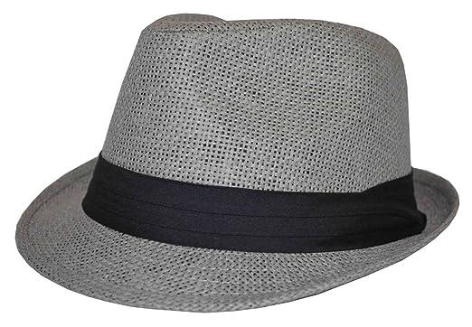 MLN Men s Straw Fedora Gray With Black Band 62cm 2xl at Amazon Men s ... 631899db092