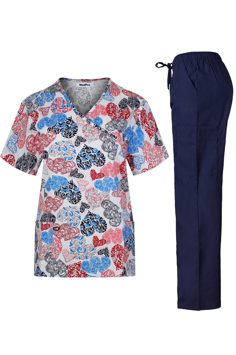 MedPro Women's Medical Scrub Set with Printed Wrap Top and Cargo Pants White Blue L(9003HR-47)